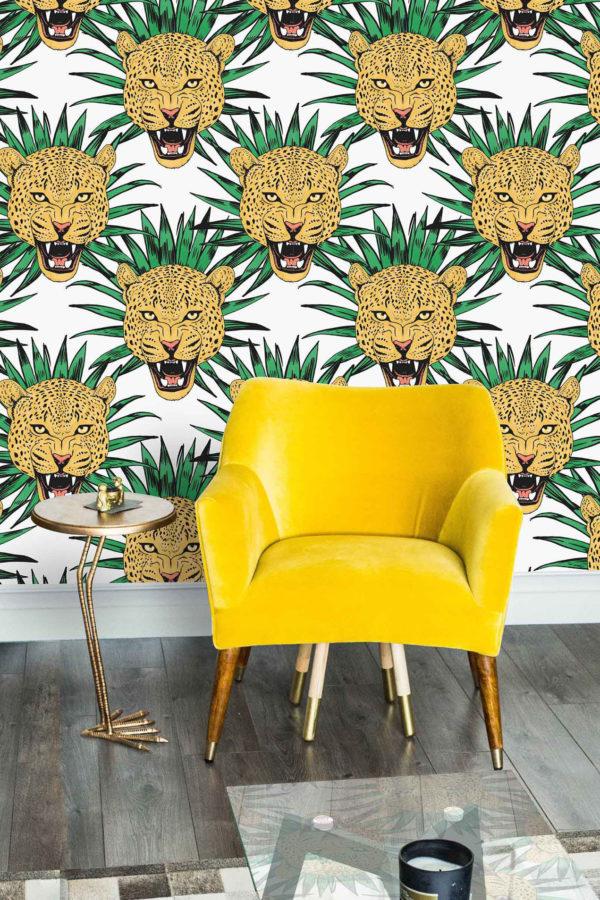 papier peint n°10 tête de léopard