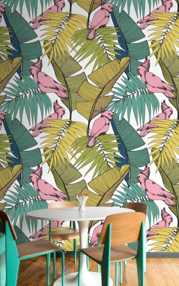 papier peint n°12 perroquets et plantes tropicales
