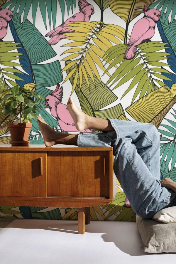 papier peint n°12 perroquets et plantes tropicales 2