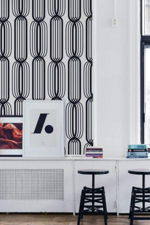 papier peint n°18 lignes rétro noir et blanc