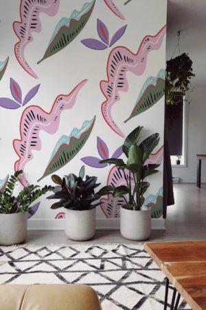 papier peint n°24 coloré feuilles décalées