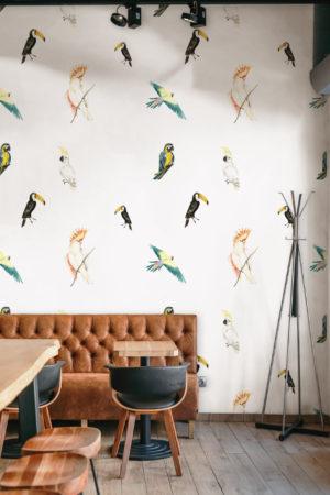 papier peint n°48 oiseaux tropicaux vintage