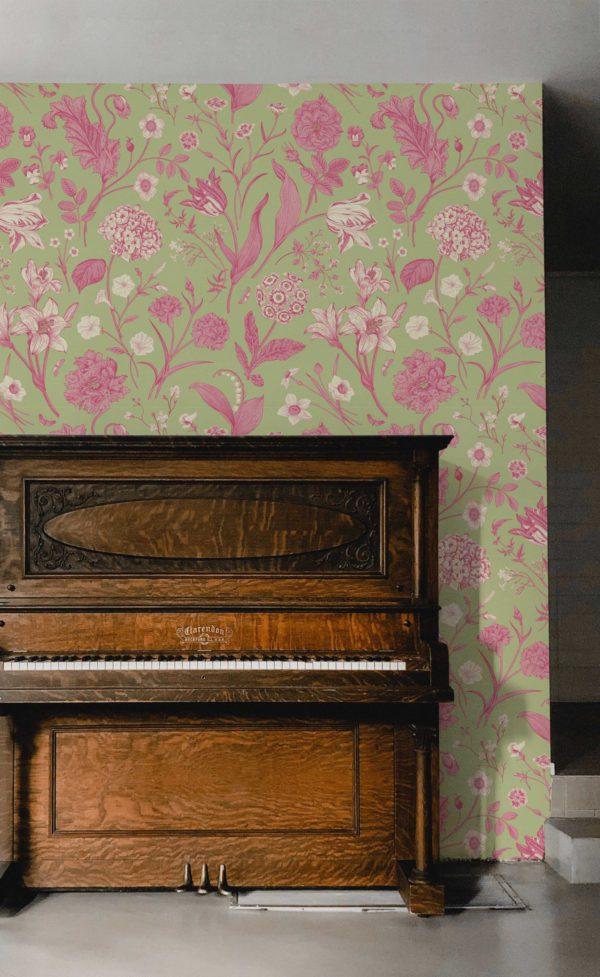 papier peint n°49 vintage fleur