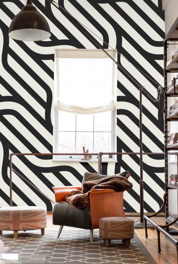 papier peint n°57 ligne noir et blanc