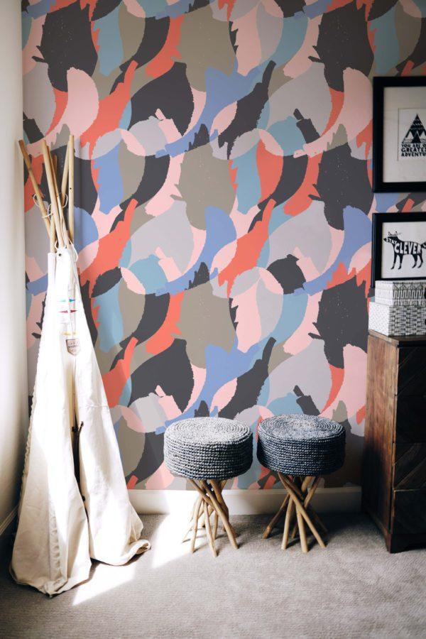 papier peint n°62 plume pastel