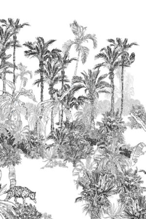 papier peint n°90 panoramique tropical noir & Blanc