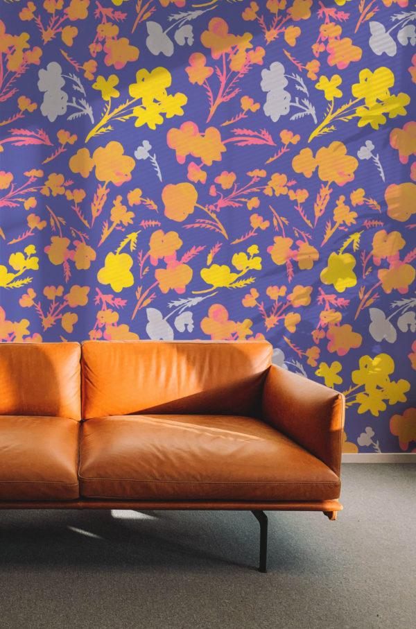 papier peint n°68 fleurs rétro