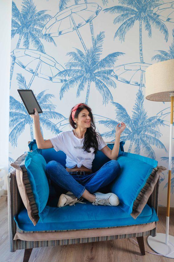papier peint n°133 cocotier bleu